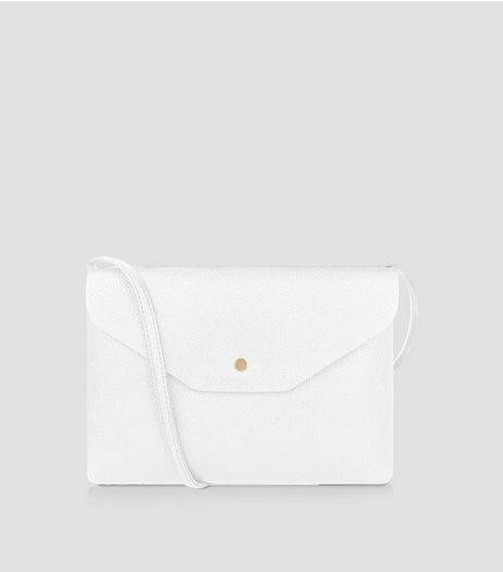 White Leather-Look Foldover Cross Body Bag | New Look