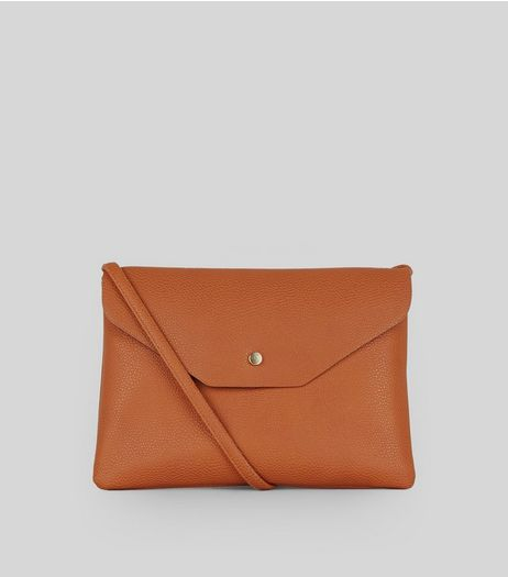 Tan Leather-Look Foldover Cross Body Bag | New Look