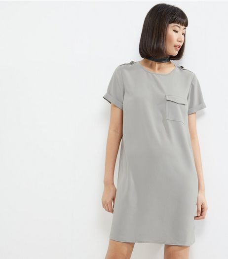 Grey Pocket Front Tunic Dress | New Look