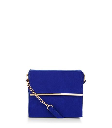 Blue Suedette Bar Trim Chain Strap Shoulder Bag | New Look