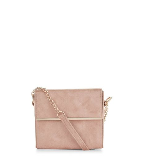 Shell Pink Suedette Bar Trim Chain Shoulder Bag  | New Look