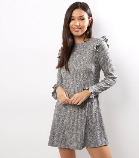 Grey Frill Shoulder Ribbed Swing Dress | New Look