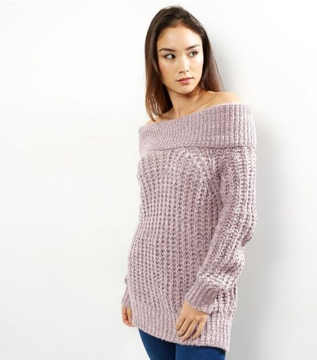 Shell Pink Chunky Knit Bardot Jumper | New Look
