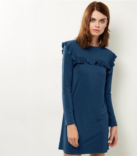 Blue Frill Trim Long Sleeve Tunic  | New Look