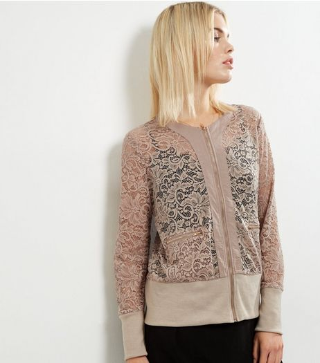 Mela Stone Lace Bomber Jacket  | New Look