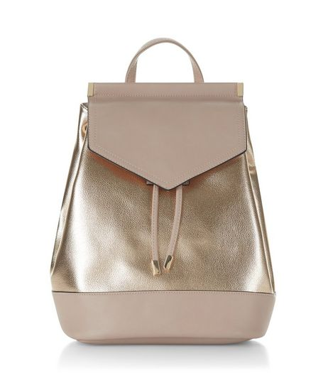Rose Gold Metallic Panel Backpack | New Look