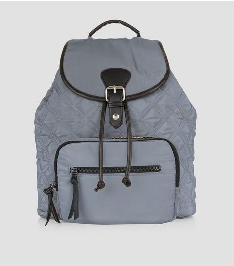 Grey Quilted Backpack | New Look