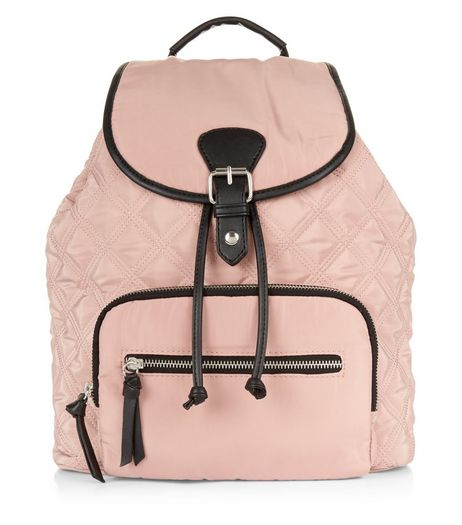 Light Pink Contrast Trim Quilted Backpack | New Look