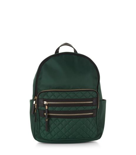 Green Quilted Pocket Front Backpack | New Look