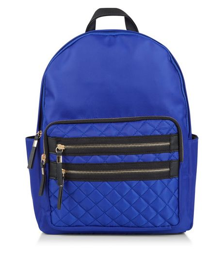 Blue Quilted Pocket Front Backpack | New Look