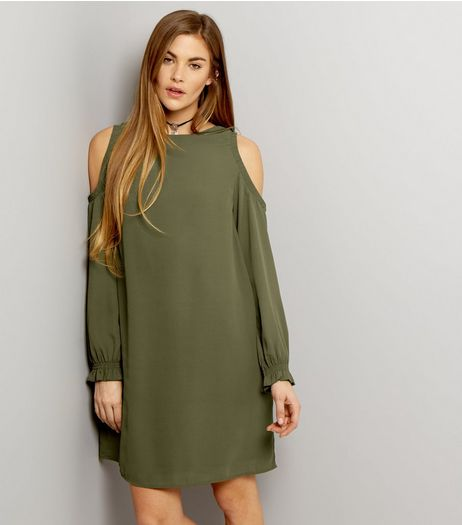 Khaki Cold Shoulder Long Sleeve Tunic Dress | New Look