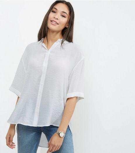 White 1/2 Sleeve Boxy Shirt  | New Look