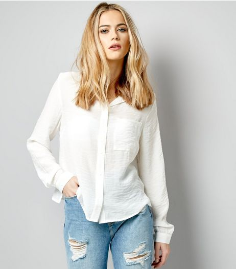 White Cropped Long Sleeve Shirt  | New Look