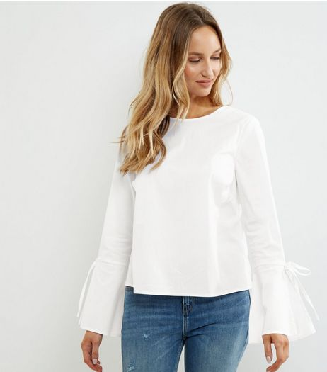 White Tie Back Bell Sleeve Top | New Look
