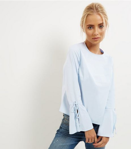Blue Tie Back Bell Sleeve Top | New Look