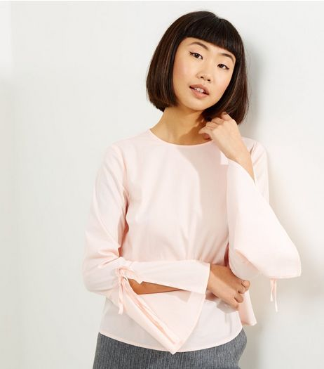 Shell Pink Flared Tie Sleeve Top  | New Look