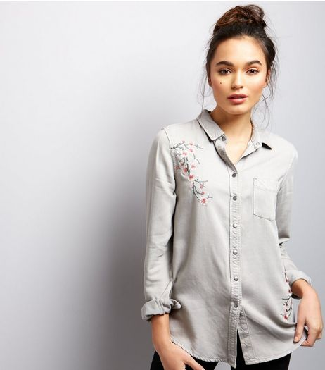 Grey Floral Embroidered Long Sleeve Shirt | New Look