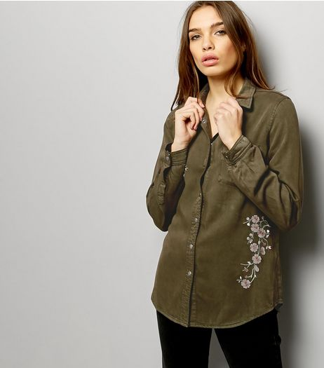 Khaki Floral Embroidered Long Sleeve Shirt | New Look