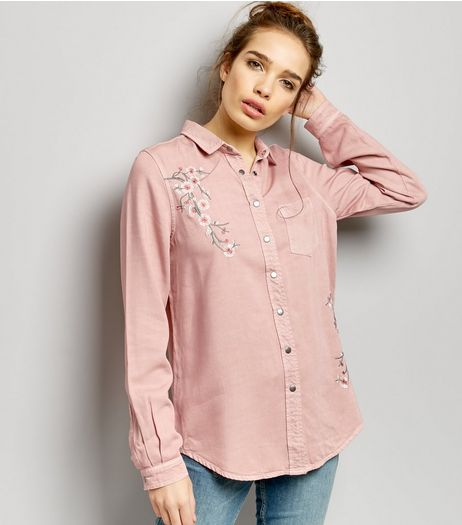 Shell Pink Floral Embroidered Long Sleeve Shirt  | New Look