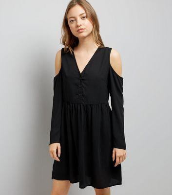 Black Cold Shoulder Smock Dress