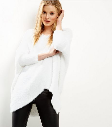 Blue Vanilla White Split Front Jumper  | New Look