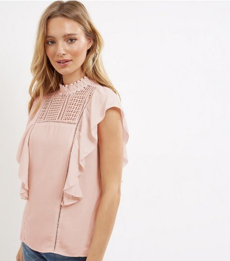 Shell Pink Yoke Crochet Panel Frill Trim Top  | New Look