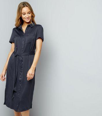 Grey Sateen Belted Split Side Midi Shirt Dress