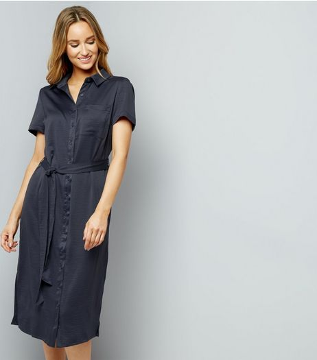 Grey Sateen Belted Split Side Midi Shirt Dress | New Look