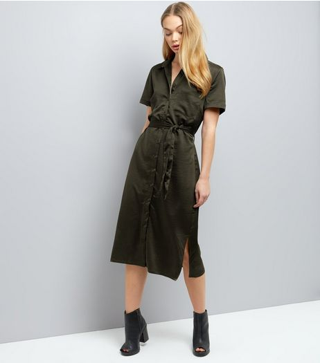 Khaki Sateen Belted Split Side Midi Shirt Dress | New Look