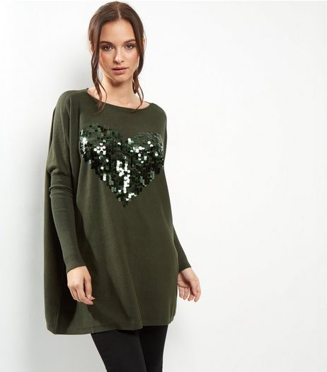 Blue Vanilla Khaki Sequin Heart Batwing Sleeve Jumper | New Look
