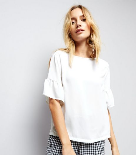 White Flutter Sleeve Top | New Look