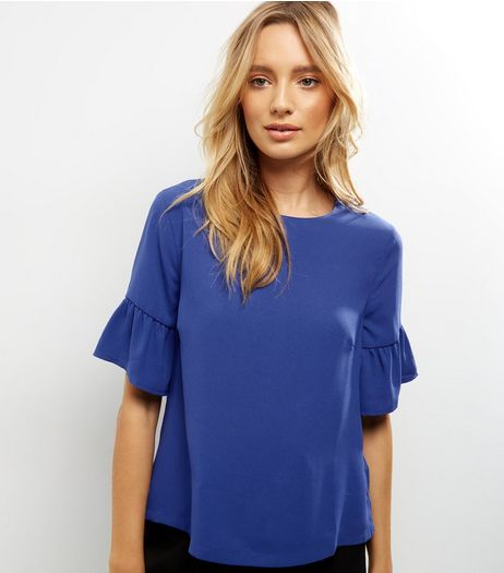 Blue Bell Sleeve Top  | New Look