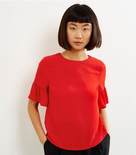 Red Bell Sleeve Top  | New Look