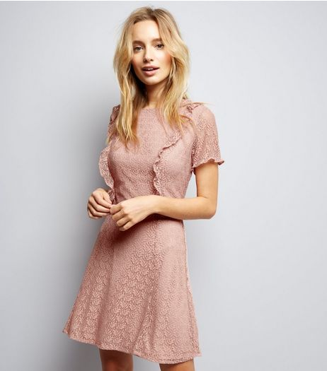 Pink Lace Frill Trim Skater Dress | New Look