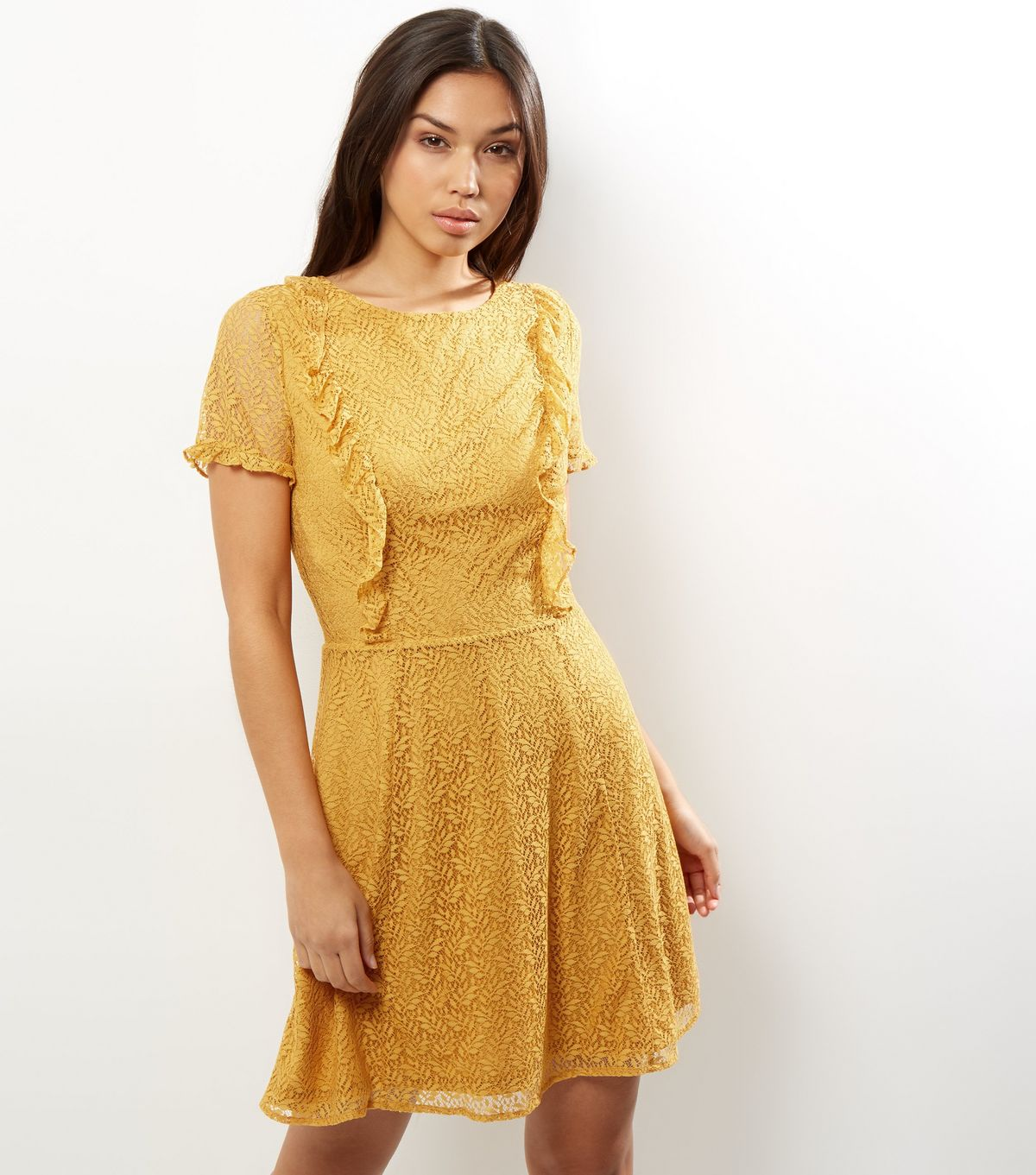 Yellow Lace Frill Trim Skater Dress | New Look