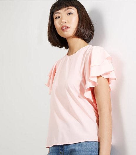 Shell Pink Frill Trim Top  | New Look