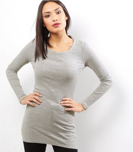 Grey Ribbed Long Sleeve Brushed Tunic  | New Look