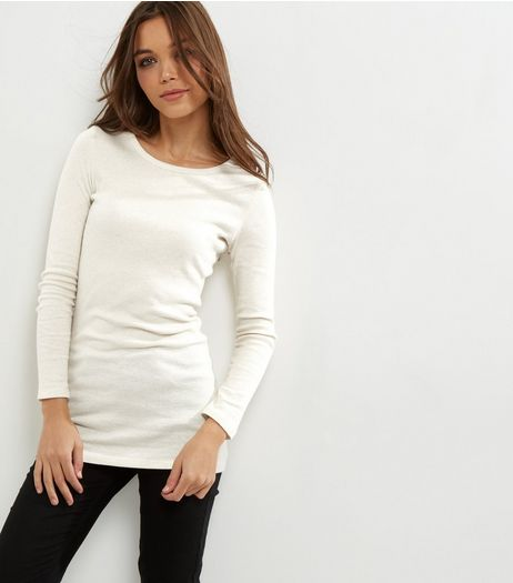 Cream Ribbed Long Sleeve Brushed Tunic  | New Look