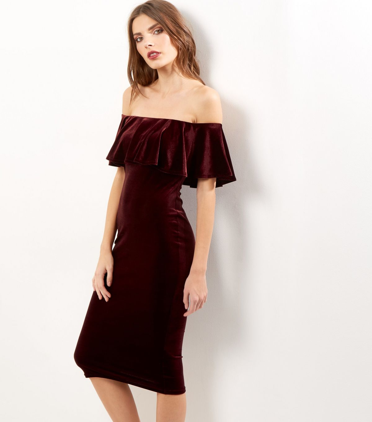 Burgundy Velvet Bardot Neck Frill Trim Bodycon Dress | New Look