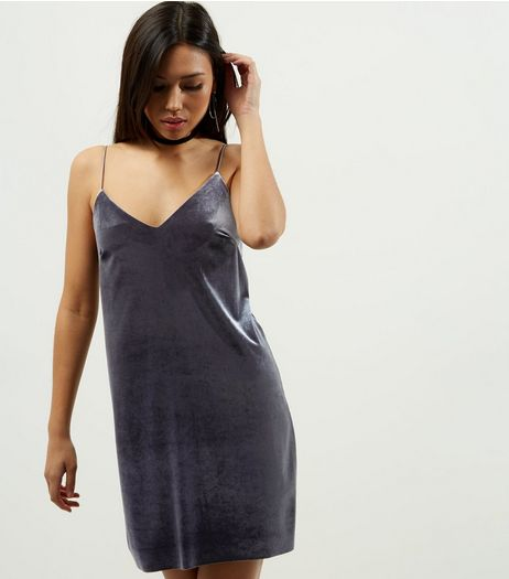 Grey Velvet V Neck Slip Dress | New Look