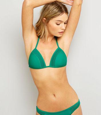 Green Crochet Trim Bikini Top