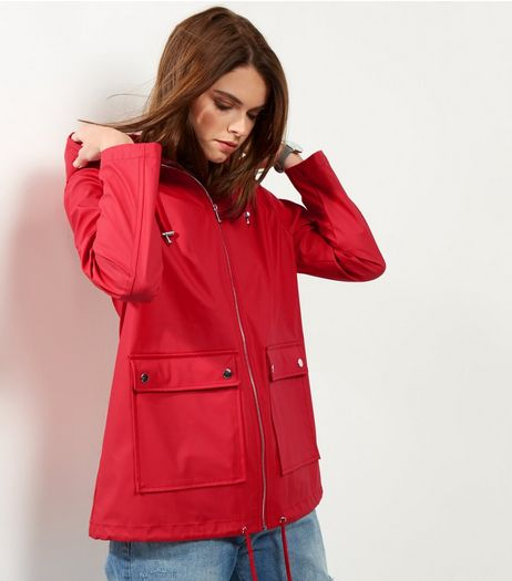 Red Matte Rain Coat  | New Look
