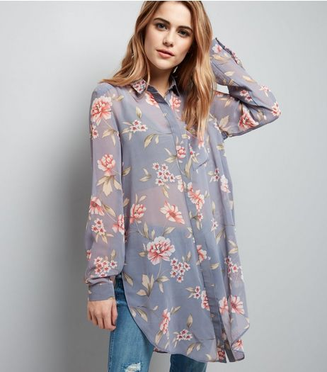 Grey Floral Chiffon Longline Shirt | New Look