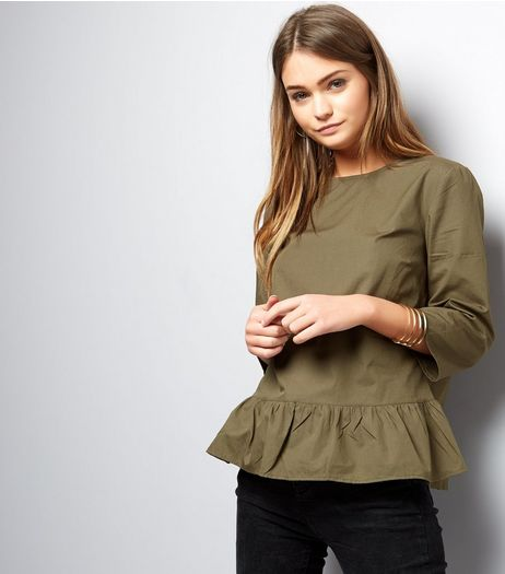 Khaki Peplum Hem 3/4 Sleeve Top  | New Look