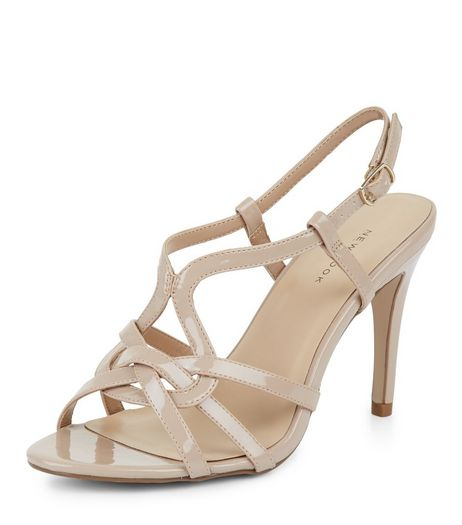 Nude Patent Cross Strap Front Heeled Sandals | New Look