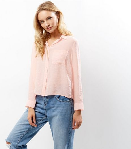 Petite Pink Cropped Shirt  | New Look