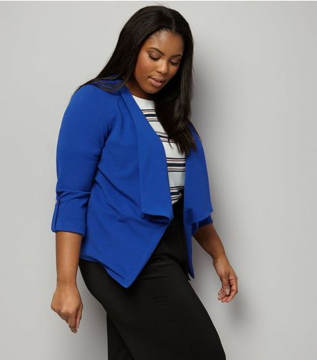 Curves Blue Crepe Rolled Sleeve Waterfall Blazer | New Look