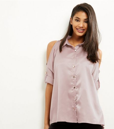 Shell Pink Sateen Cold Shoulder Shirt  | New Look