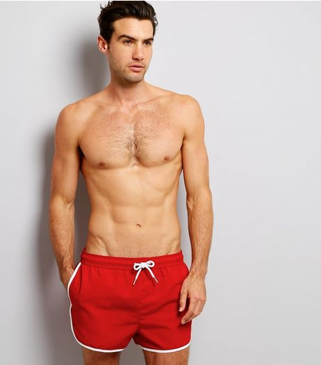Red Contrast Trim Swim Shorts | New Look