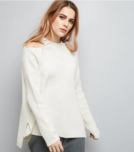 White Cut Out Shoulder Jumper | New Look